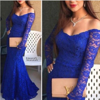 Wholesale Cheap Long Dresses Sale - Royal Blue Lace Prom Dresses Mermaid Illusion V Neck Off the Shoulder Long Sleeves Christmas Party Gowns Custom Made Cheap Online For Sale