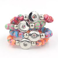 Wholesale Fimo Polymer Clay - New Arrival Mix 4 Colors DIY Snap Jewelry, 10mm Fimo Polymer Clay Ceramic Beaded Stretch 18mm Snap Bracelet for Women Jewelry
