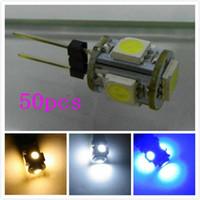 Wholesale G4 Light Bulb Red - Promotion 50pcs G4 5 SMD 5050 5 LED Light Car Lamp Wedge Light Bulb Interior Light DC12V   24v car led g4 lamp