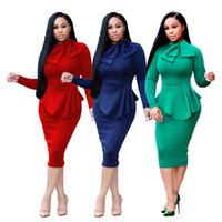 Wholesale Womens Clubwear Dresses - Ladies Long Sleeved Fashion Autumn Evening Cocktail Party Bodycon Midi Dress Womens Fall Clubwear Pencil Dresses Solid Color