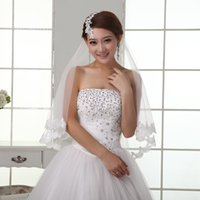 Wholesale Dress Bride Layers - In Stock Free Shipping Hot Sale White Lace Edge Eleant Short Tulle Bride Wedding Dress Bridal Veil