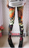 Wholesale Stretchy Women S Jeans - Wholesale- new A46 Women fashion vintage skull flower clothes stretchy skeleton printed tattoo Skinny Jeans Leggings