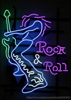 """Wholesale Bar Electric Guitar - HOT Rock Roll Electric Guitar Player Neon Sign Real Glass Beer Bar Sign Disco Club Advertisement Sign 24""""X20"""""""