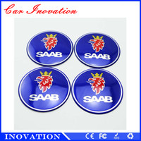 Wholesale Saab Wheel Emblems - Wholesale China Made 55mm SAAB Blue Logo Car Steering Tire Wheel Center Hub Emblem Decal Sticker