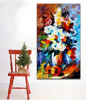 Wholesale Modern Canvas Art Roses Paintings - Beautiful Bouquet Rose Dasiy Modern Palette Knife Painting Wall Art Printed On Canvas Picture For Office Home Decor