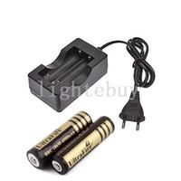 Wholesale 2x Eu - Free shipping 18650 Travel Battery Charger EU Plug +2x Ultrafire 18650 4000MAH Li-ion Rechargeable Battery