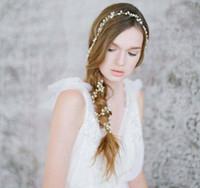 Wholesale Make Fairy Hair Accessories - Hot Sall Long Hair Chain Handmade Pearls Bridal Hair Accessories Custom Made 1M Headband Wedding Hair Sash Belt Bridal Accesorios Headpieces