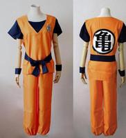 Wholesale goku costumes - Classical Japanese Anime Costume Cosplay Dragon Ball Son Goku Costume with KAME CharacterTOP+PANTS+BELT Per Set free shipping