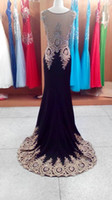 Wholesale India Black Red - 2015 Luxury 100% Real Image Sheer Neck Black Red Formal Evening Prom Dresses Appliques Celebrity Pageant Wedding Party Gowns India Arabic