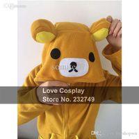 Wholesale Rilakkuma Coat - Wholesale-Japanese Anime Winter Coat Rilakkuma Cute Animal Hoodies With Ears Cosplay Costume Zip Hoody Sweatshirt Jacket S M L XL