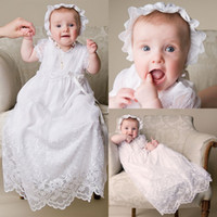 Wholesale Top Selling Baby Girl Dresses - Top Selling Lace Christening Gowns For Baby Girls With Sleeves Long Christening Dresses Tulle Baptism Robe Cheap First Communication Dress