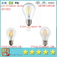 Wholesale E27 Bulb Edison - Super Bright E27 Led Filament Bulbs Light 360 Angle A60 Led Lights Edison Lamp 4W 8W 12W 16W 110-240V +CE UL + Warranty 3 Year