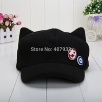 Wholesale Eva Hats - Wholesale-Spot Movie Evangelion EVA Asuka cat ears hat plush Hat Peaked Baseball Cap Casquette