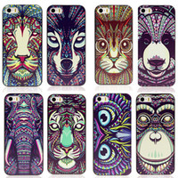 Wholesale Iphone Aztec Elephant Case - Wholesale-For iPhone 5 5G 5S Case Cover New Fashion Cute Aztec Animal Elephant Tiger Owl Orangutan Bear Kitten Wolf Painted Back Lucky