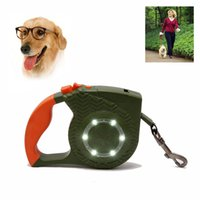 Wholesale lead auto lights for sale - 4m Automatic LED Dog Collar Traction Rope Walking Lead Auto Leash With LED Flashlight Retractable Leash Rope Lead Pet Dog Puppy Strap New