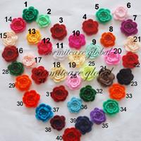 malzeme düzeltme toptan satış-2.5 '' - 2.75 'Karışık Malzemeler El Yapımı Tığ Çiçekler Aplikler Dikiş Trimler Yay Bebek Bezi Aksesuarları Yapay Çiçekler Ücretsiz Kargo