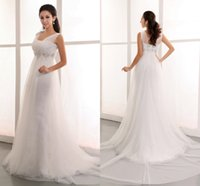 Wholesale Dreamy Castle - New Arrival Gorgeous Custom Made Dreamy White Tulle Cap Sleeves Beaded Empire Waist Wedding Dresses 2015 High Quality Actual Image Dresses