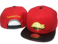Wholesale Mitchell Ness Snapbacks Hats - 2016 Top Quality red black men women metal logo mitchell&ness team snapback hats sports caps snapbacks snap back summer winter hats DD