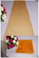 Gros-NO.33 Sombre Couleur Orange-35pcs Neige Organza Chemin de Table / Nappe / Table Cover Pour Wedding Party Hôtel Banquet Accueil Décorations