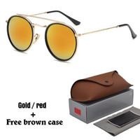 glasses großhandel-Marke Designer Runde Metall Sonnenbrille Männer Frauen Steampunk Mode Brille Retro Vintage Sonnenbrille mit kostenlosen Fällen und Box