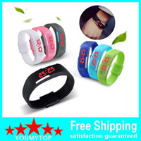 Wholesale Touch Watches Sale - HOT SALE 10pcs Men's Women's kids Silicone Red LED Sports Bracelet Touch Watch Digital Wrist Watch
