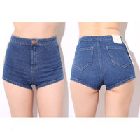 Wholesale Sexy Hotpants - 2014 summer women fashion 80's booty sexy hot short minimalist new vintage high waist navy jean shorts retro hotpants for female