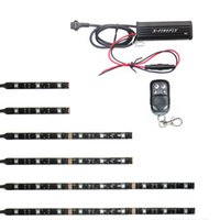 Wholesale Led Strip Lights Motorcycle - 3 Sizes 6Pcs RGB Waterproof Flexible SMD5050 Led StripS Motorcycle Lighting 15 Color Kit 32&62&92