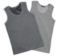 Wholesale Basic Underwear - Fall-High quality bamboo charcoal thermal vest plus velvet thickening thermal upperwear top male basic thermal underwear vest