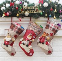 Wholesale cloth gift wrap - Christmas Decorations snowflake deer Christmas stocking gift bag candy apple bags wrap long stockings socks red Festive Party Supplies IB508