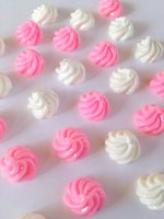 Wholesale Pink Whips - 300pcs pink and white icre cream resin cabs Whipped Cream Cabochon 13mm flatback decoden