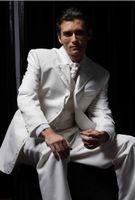 Wholesale fashionable Romantic Notch Lapel One Button Groom Tuxedos Wedding Party Groomsman Suit Wedding Party Suit Jacket Pants Tie Vest