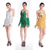 Wholesale Dropshipping Dresses - Sexy Lady Sequins Tassel Latin Cha Cha Rumba Dance V Neck Strap Dress 4 Colors Dropshipping Free Shipping