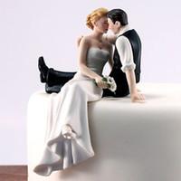 gelin damat süslemeleri toptan satış-Romantik Gelin Damat Kek Toppers Düğün Pastası Süslemeleri Malzemeleri Reçine Heykelcik Düğün Süslemeleri Ücretsiz Kargo