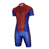 Wholesale Spiderman Short Sleeve Cycling Jersey - Red Spiderman Cycling Jerseys Sets Breathable Cycling Clothing Summer Short Sleeves and Shorts Bike Clothes Cheap Cycle Jersey For Cycling