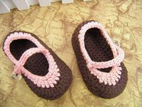 Wholesale Knitted Shoes For Toddlers - Hot sale!Charm brown crochet baby shoes!Knit shoes,Free shipping, For 0-12M,Toddler shoes,china shoes.0-12M cotton