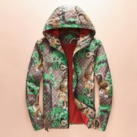 Wholesale Tiger Hooded Coat - Tiger Printed Jacket Autumn And Winter Pullover Zipper Coat Men's Jacket Green And Blue Coat Fashion Plus Size Jacket Size M-3XL