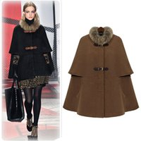 Wholesale Double Breasted Wool Cape Coat - Hot Sell Cap Poncho Winter Womens Double Breasted Cape Batwing Wool Blend Poncho Belted Jacket Female Lady Winter Warm Cloak Coats