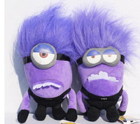 Wholesale Minions 25cm - Despicable Me PURPLE EVIL MINION 25cm 3D PLUSH DOLL With Tag Christmas Gift For Children toy