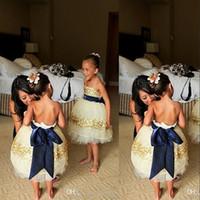 Wholesale Strapless Kids Wedding Dresses - 2016 Ivory Flower Girl Dresses Strapless Gold Sequins Beaded Navy Blue Bow Ribbon Lovely Little Kids Formal Wear Girls Party Dresses BO7397