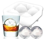 Wholesale Beverages Cocktails - Silicone Ice Ball Maker Tray Sphere Molds 4 Balls Round Ice Making Mould for Whiskey Cocktail Wine Beer Beverage Party Bar Q2