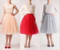 Wholesale Cute Line Skirts - New Colorful Tulle Knee Length Skirts Women And Girl Dress Soft Gauze Cute Bouffant Skirt Princess Cheap Bust Tu Tu Skirts Layered Dress