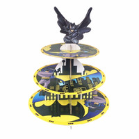Wholesale Batman Birthday Decorations - Free shipping batman decoration kids birthday party supplies three layers cupcake stand cake stand stands dessert tray favors