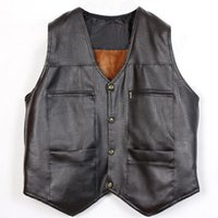 Wholesale Sleeveless Leather Jacket Mens - Fall-Fur Leather Vest Big Size 3xl Mens Black Waistcoat Casual Brown Sleeveless Jacket V Neck Solid British Style Single Breasted