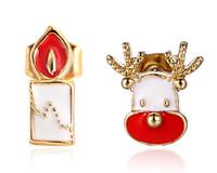 Wholesale 4g Earrings - Christmas Asymmetric Stud Earrings Korea Cute Candle & Animal Series 14mm 4g Alloy Enamel Earrings Christmas Gift White Color