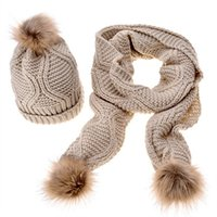 Wholesale crochet baggy hats for sale - Group buy 2pcs knit scarf and hat set Women Winter Warm Baggy Hat Scarf Crochet Wool Knit Beanie Ski Cap Wrap