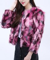 Wholesale Long Sleeve Collarless Coat - Women Elegant Fur Coats Colorful Faux Fur Coat Multicolor Long Sleeve Collarless Casual Woman Winter Fur Coats