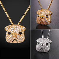 Wholesale Bull Jewelry - U7 Pug Bull Dog Pendant Necklace Gold Platinum Plated Cubic Zirconia Lucky Lovely Pet Jewelry Gift Chain for Men Women P2583