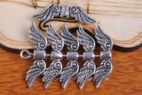 Wholesale Beads 23mm - 300pcs 23mm Angel Wing Space Beads Pendant Components Charms 7096 Plated Silver DIY Jewelry Craft Necklace infinity Fit Bracelets Earring