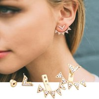 Wholesale Triangle Rivets Fashion - New Fashion Vintage Gold Punk Triangle Rivet Ear Cuff Clip Stud Earrings For Women Jacket Piercing Earrings Jewelry 9162