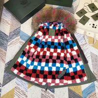 Wholesale Mr Color - 2018 Mr & Mrs itlay multicolor mink Fur lined army green canvas mini parka Mr Mrs furs Stitching color grid mink fur jackets